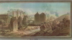 """Watercolour of """"Dean Mills"""" by James Skene depicting the Water of Leith Village"""