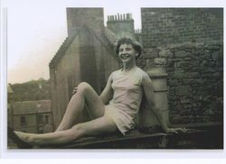 My Sister Wendy on the flat roof of our Dean Village Home.