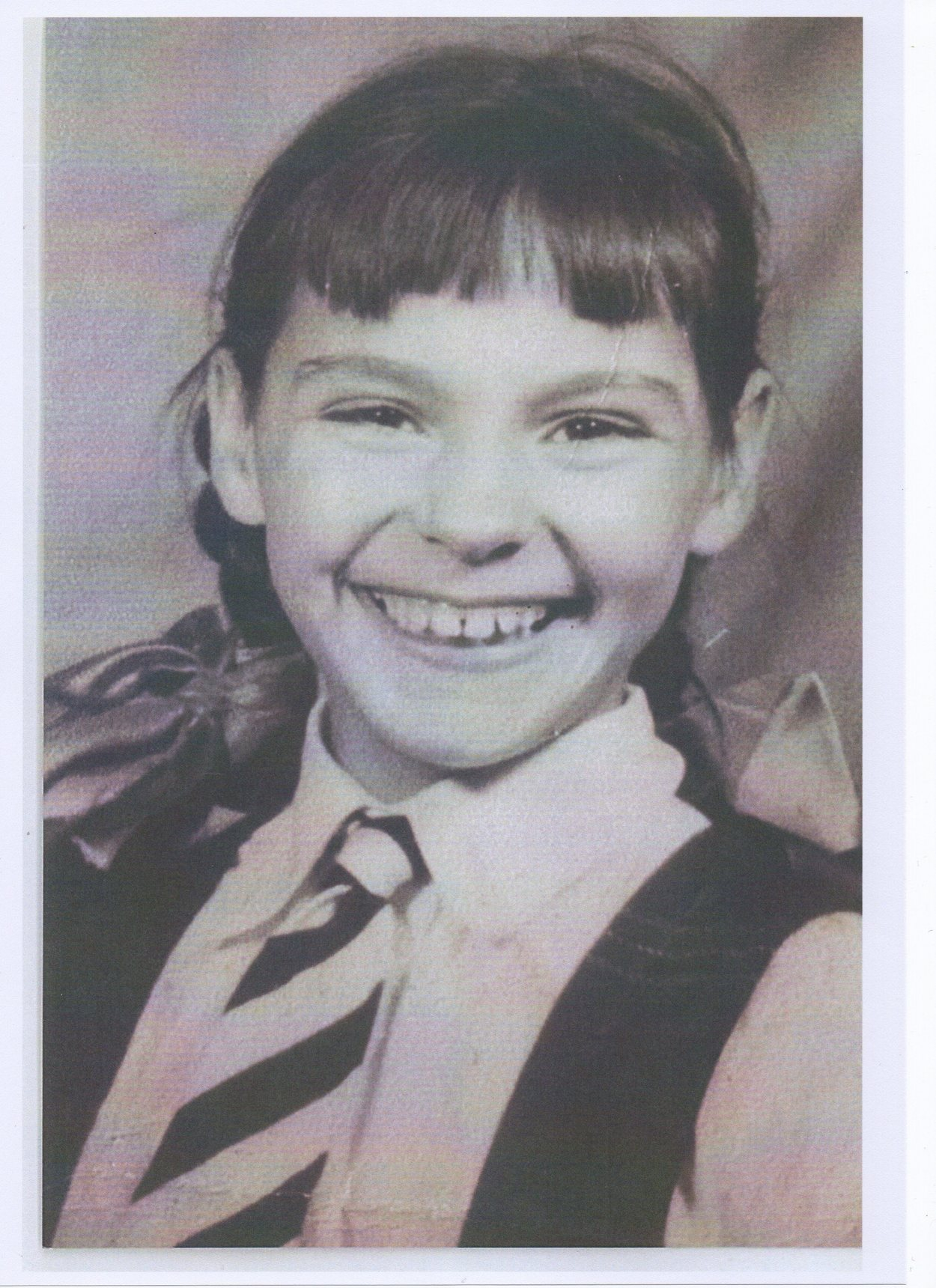 This is me aged 9, ready for school
