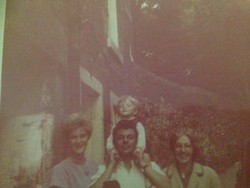 My brother Ian with his family outside their house at 41 Dean Path