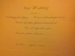 "My Sister, Dorothy's ""Our Wedding"" Invitation."