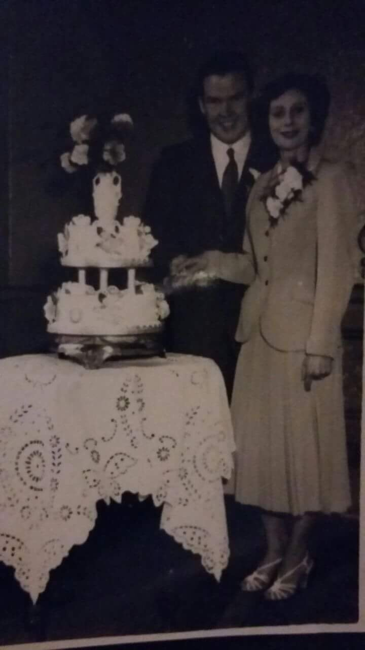 My Sister Dorothy and Stan cutting their 3 Tier Wedding Cake.