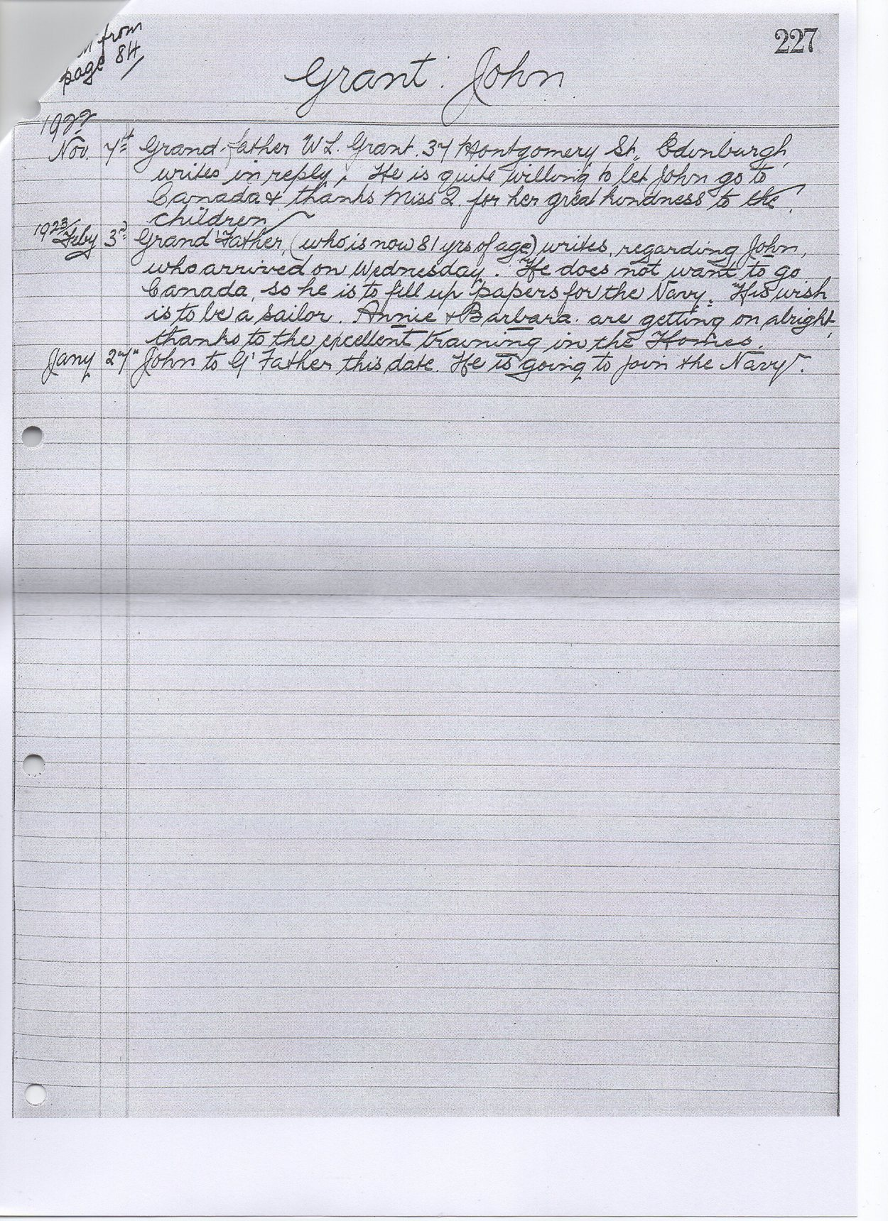 "Titled ""Grant : John"" 2nd Page copied from one of the large history books in Quarries Homes Archive"