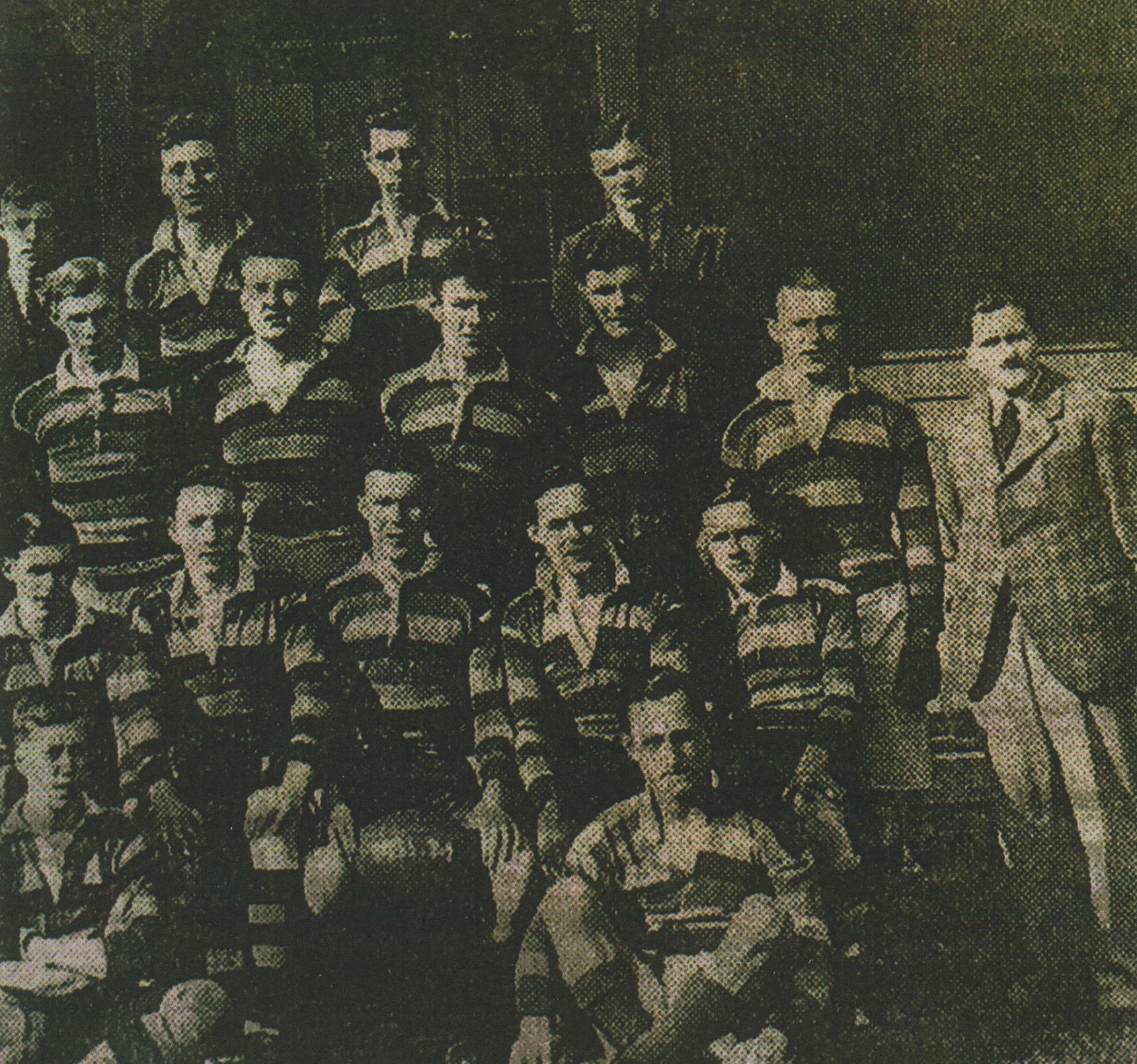 My Dad photographed with the Bellevue Former Pupil Rugby Team 1933-1934.