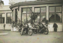 40 - My Dad on the right with his friend on their Motor Bikes.