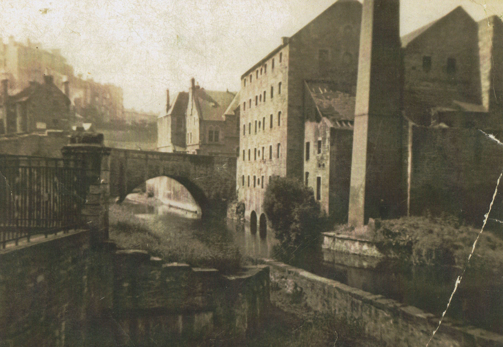 Dean Village - Stone Bridge, Dean School in the centre, and West Mill to the right.
