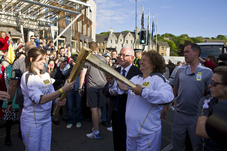 Olympic Torch Relay handover outside the Scottish Parliament Building