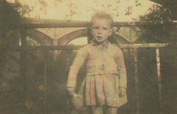 Me at the Waterside aged 18 months with the Dean Bridge in the background.