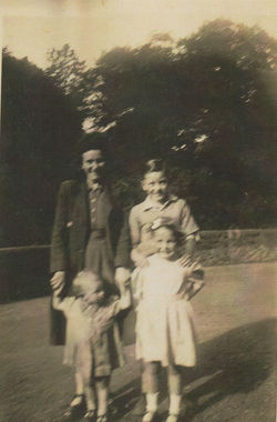 Mum, Drew Johnston, and left to right Me and Avril at the Waterside, Miller Row.