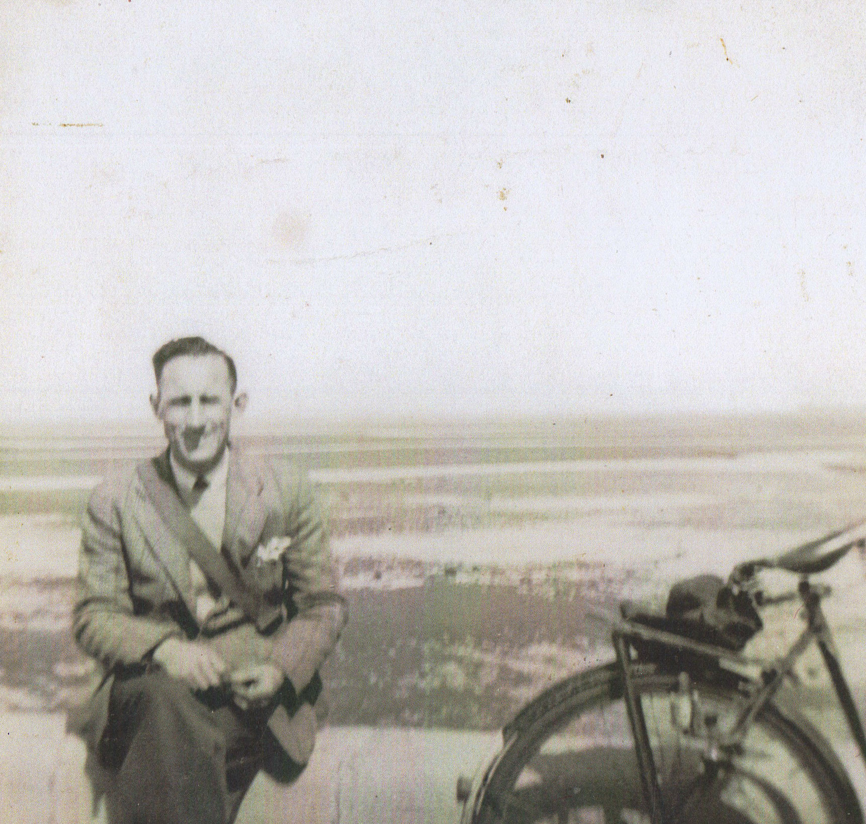 My Dad pictured at Cramond with his Bike.
