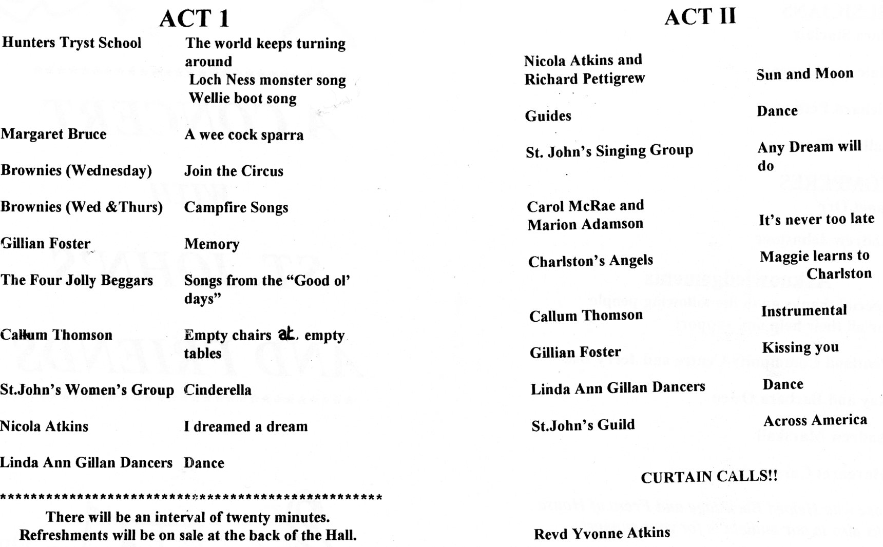 Programme for 'A concert with St John's and friends' (inside)