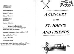 Programme for 'A concert with St John's and friends'
