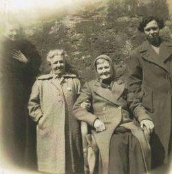 My Auntie and Granny with Dean Village Neighbours pictured in Dean Path.