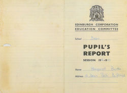 My Dean School Pupil's Report Session 1956 -1957