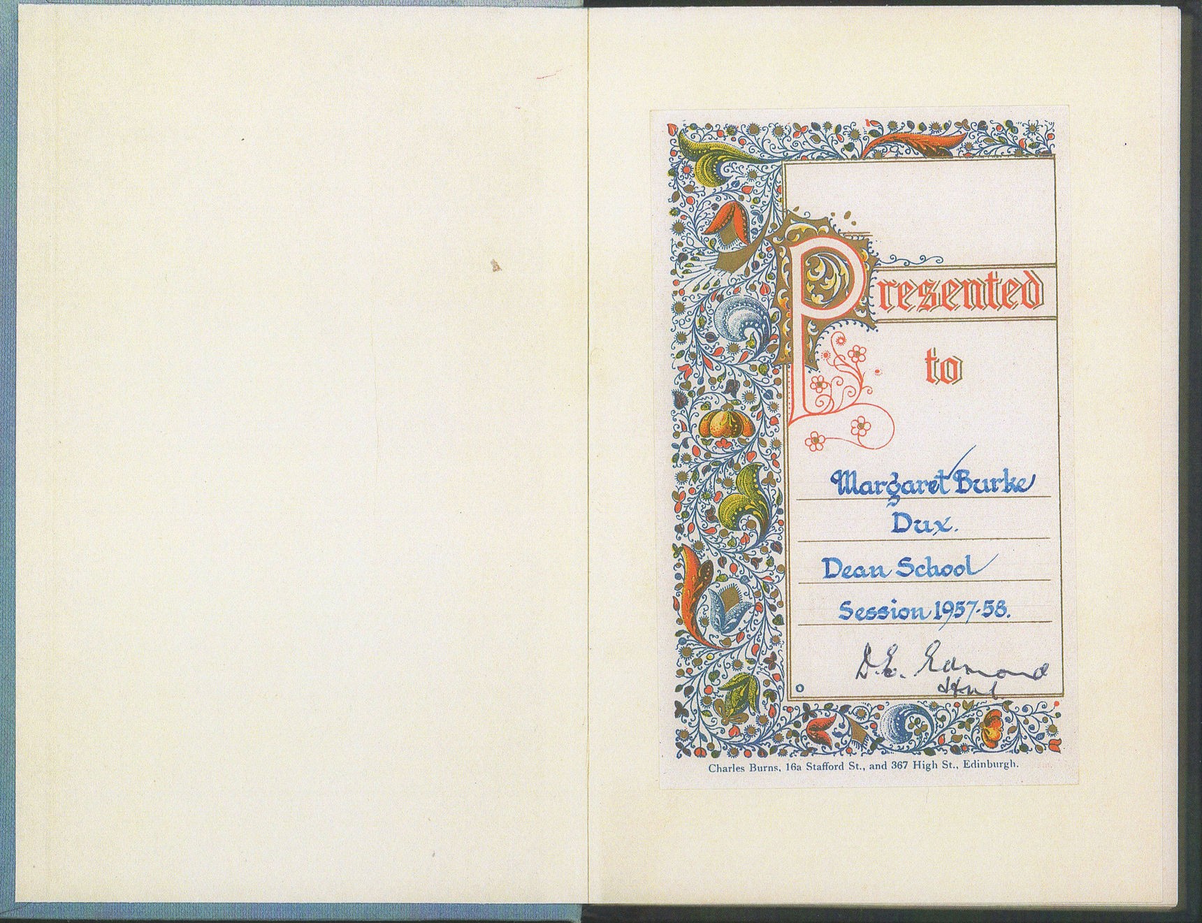 """ Presented to Margaret Burke Dux Dean School Session 1957 - 58 """