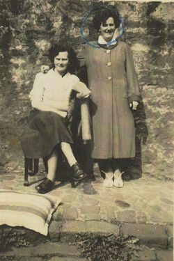 Auntie Mamie Johnston and my Mum photographed in Dean Path