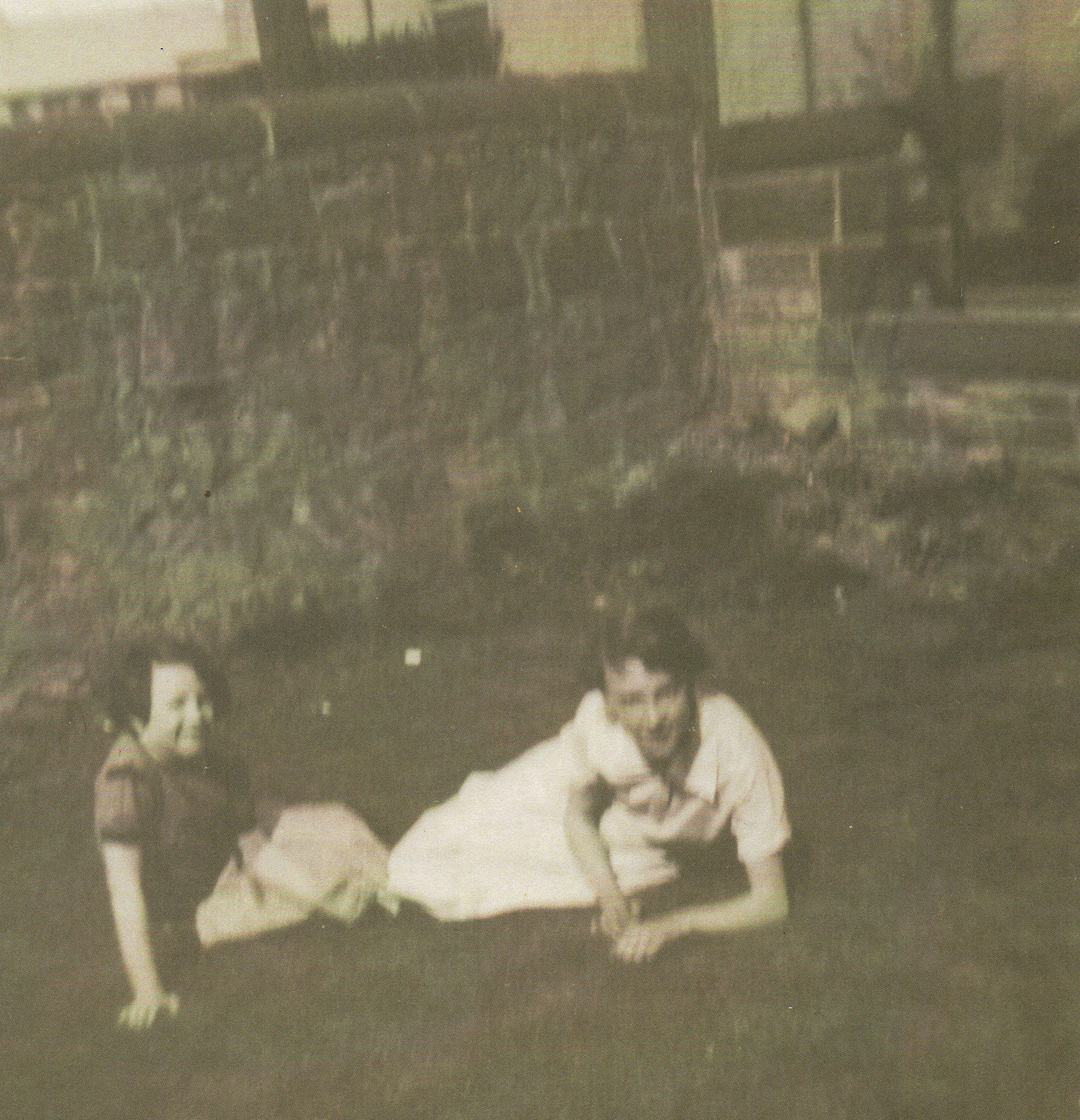 Nancy Donoghue left and Me relaxing in the Dean Parish Church Gardens, Ravelston Terrace.