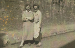 My Mum on the left and Auntie Mamie Johnston pictured in Dean Path.