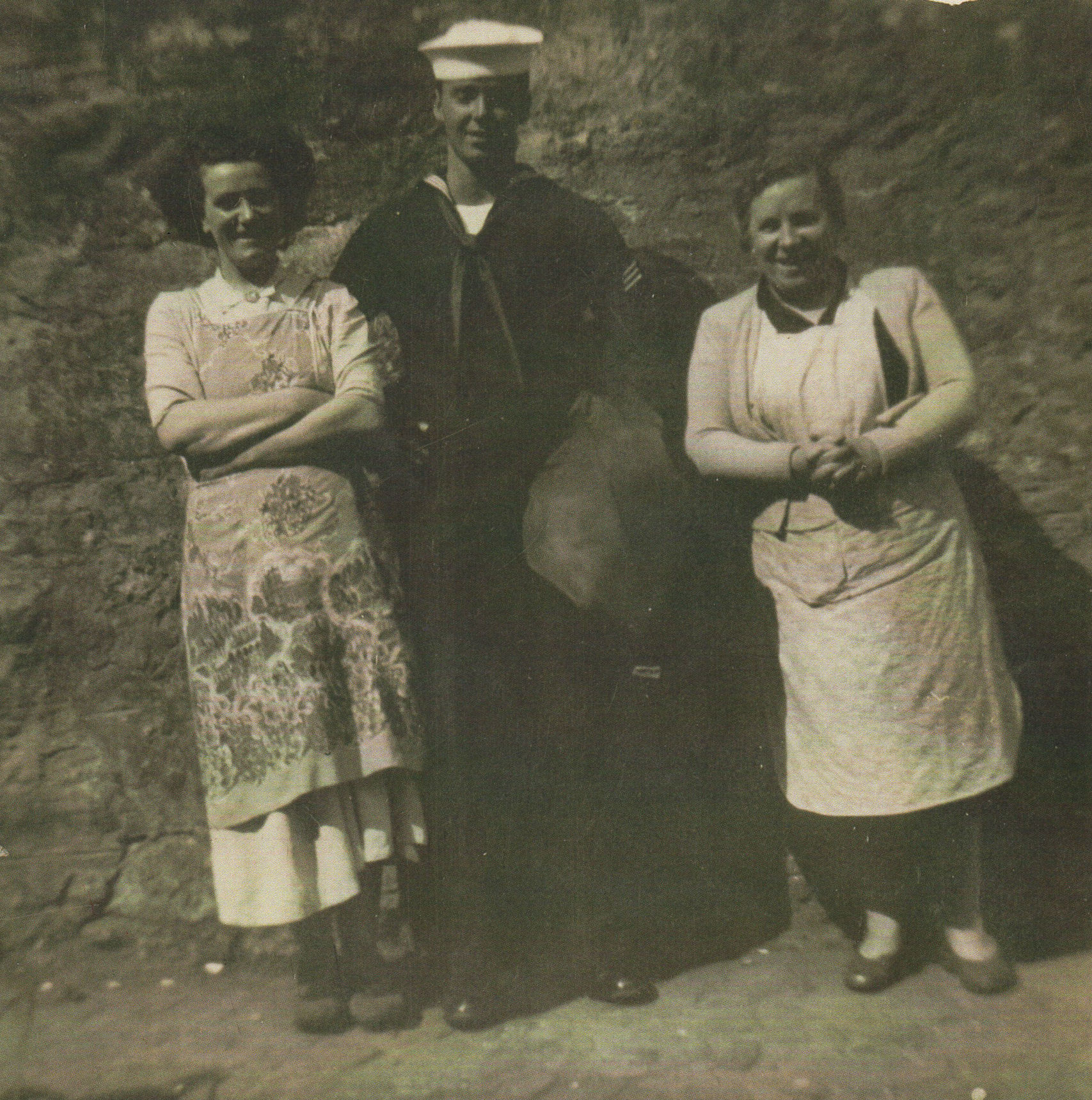 Mum pictured with an American Sailor and Neighbour Mamie Brash of Dean Path.