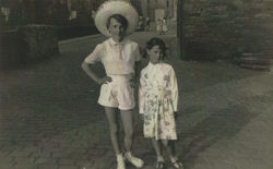 Me and Lynn Ridgway from West Mill Lane, Dean Village, standing in  the Damside.