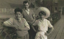 Dean Villager's pictured on the Dean Village Wooden Bridge.