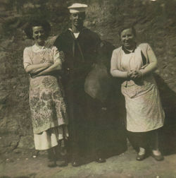 My mum pictured with an American sailor and Mammie Brash 37 Dean Path.