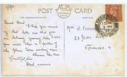 53 -My Dad working away from home, sent my Sister Avril a Postcard from Lossiemouth.
