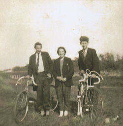 Sunday morning - A 22 mile Bicycle Trip to Gullane -Left Sandy Ferris, Me and Charlie McCole.