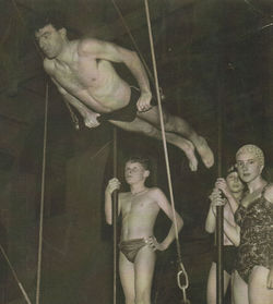 John Lee standing on the Trapeze Platform, with me to the right at Drumsheugh Swimming Baths.