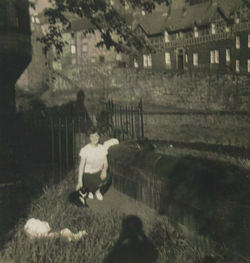 Me pictured round the gardens in the Well Court with Pat Lee's cat.