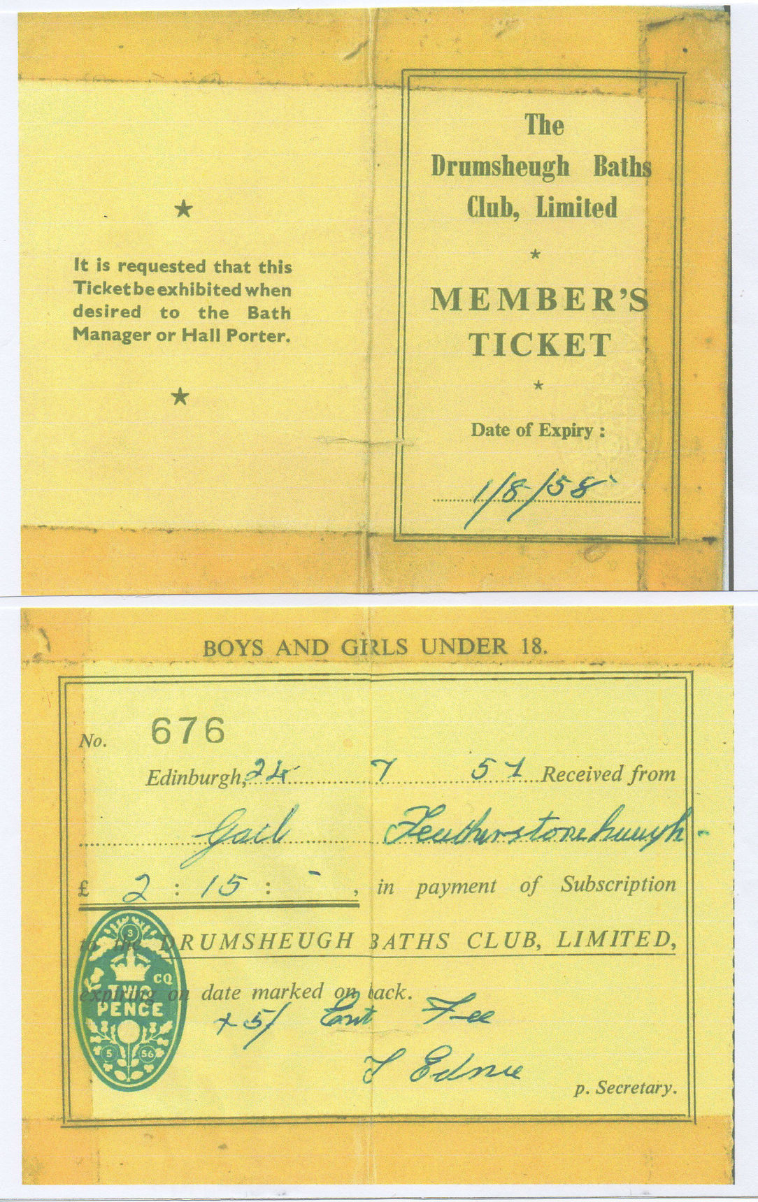 1957 - My Dad gave me money £2 and 15 shillings for a year's Junior Subscription to Drumsheugh Baths.