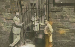 Left to right - Drew Johnston Mrs McKenzie and her Son Colin McKenzie  (round the gardens / Damside).