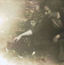 "Mum pictured with ""VIESHA""  my Cat in Dean Path."