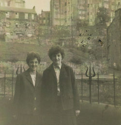 "This is me and to the right Pat Lee ""Round the Gardens"". The grassy area in the background is the "" High Green ""."