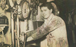 1963 - Robert pictured in the Engine Room of M V Gloucester