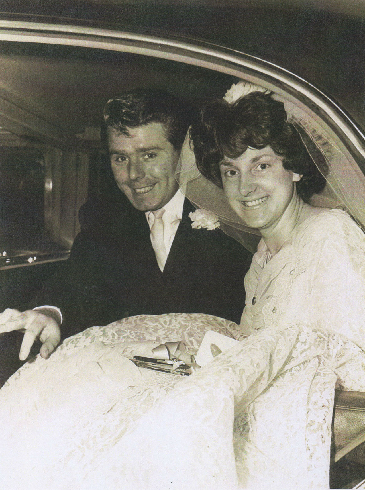 Robert and I are all smiles after our Wedding on 19th December 1964,