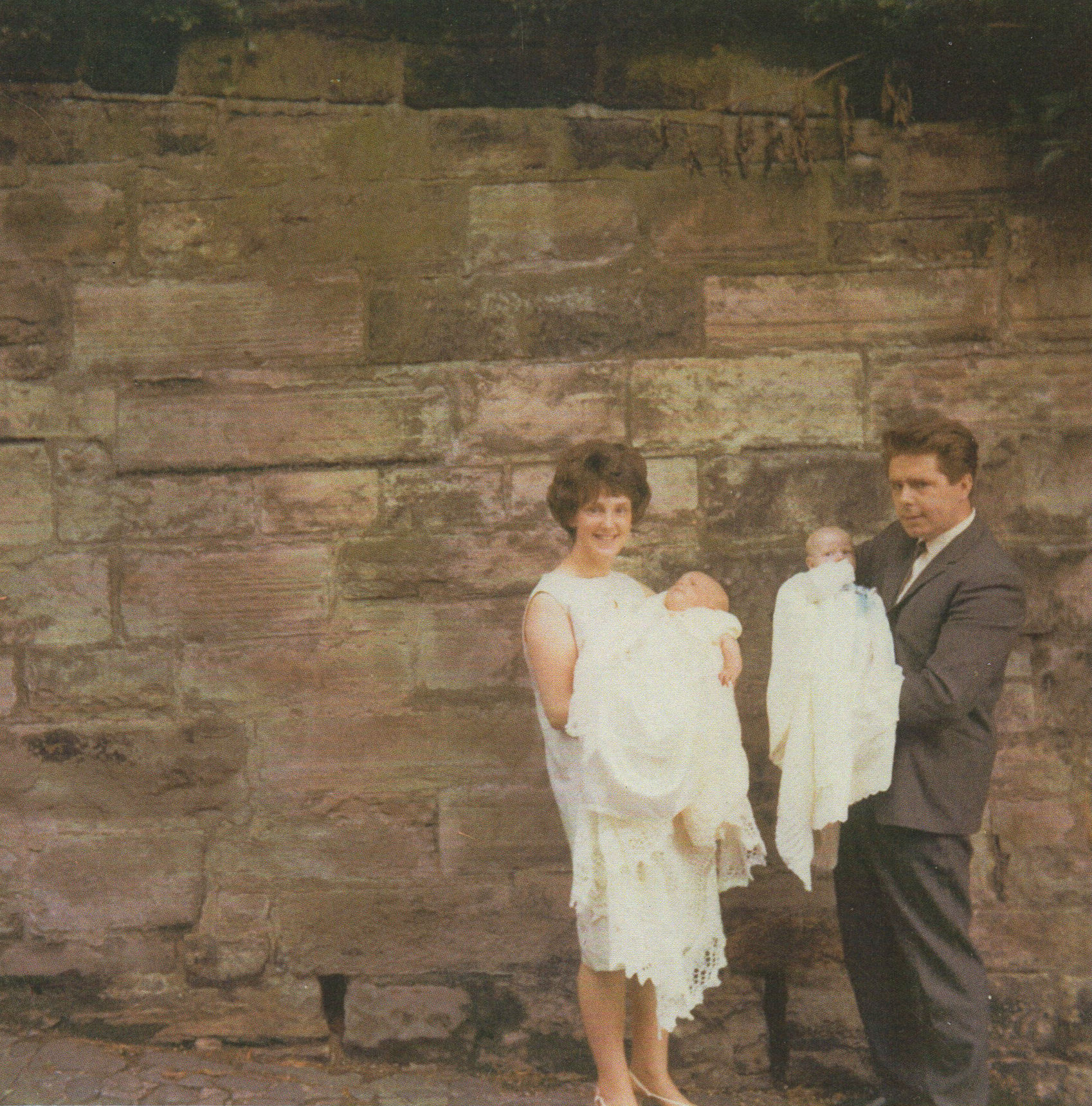 Me holding Gillian and Robert holding Paul after the Christening pictured in Dean Path