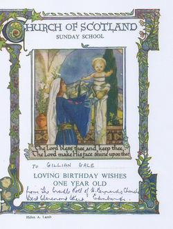 Gillian's Birthday Certificate.