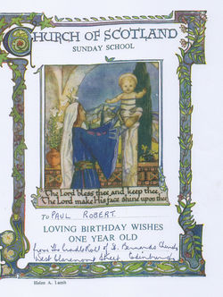 Our Church of Scotland Church sent this Sunday School One Year Old Birthday Certificate to our Twin Paul.