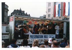 Preservation Hall float - Charlie McNair's band Jazz Festival Parade 1987