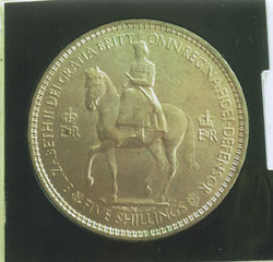 Dad bought Avril & I a Five Shilling Coin to celebrate the Queens Coronation in 1953
