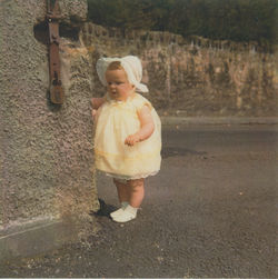 My Daughter Gillian aged 10 months at the top corner of  Dean Path.