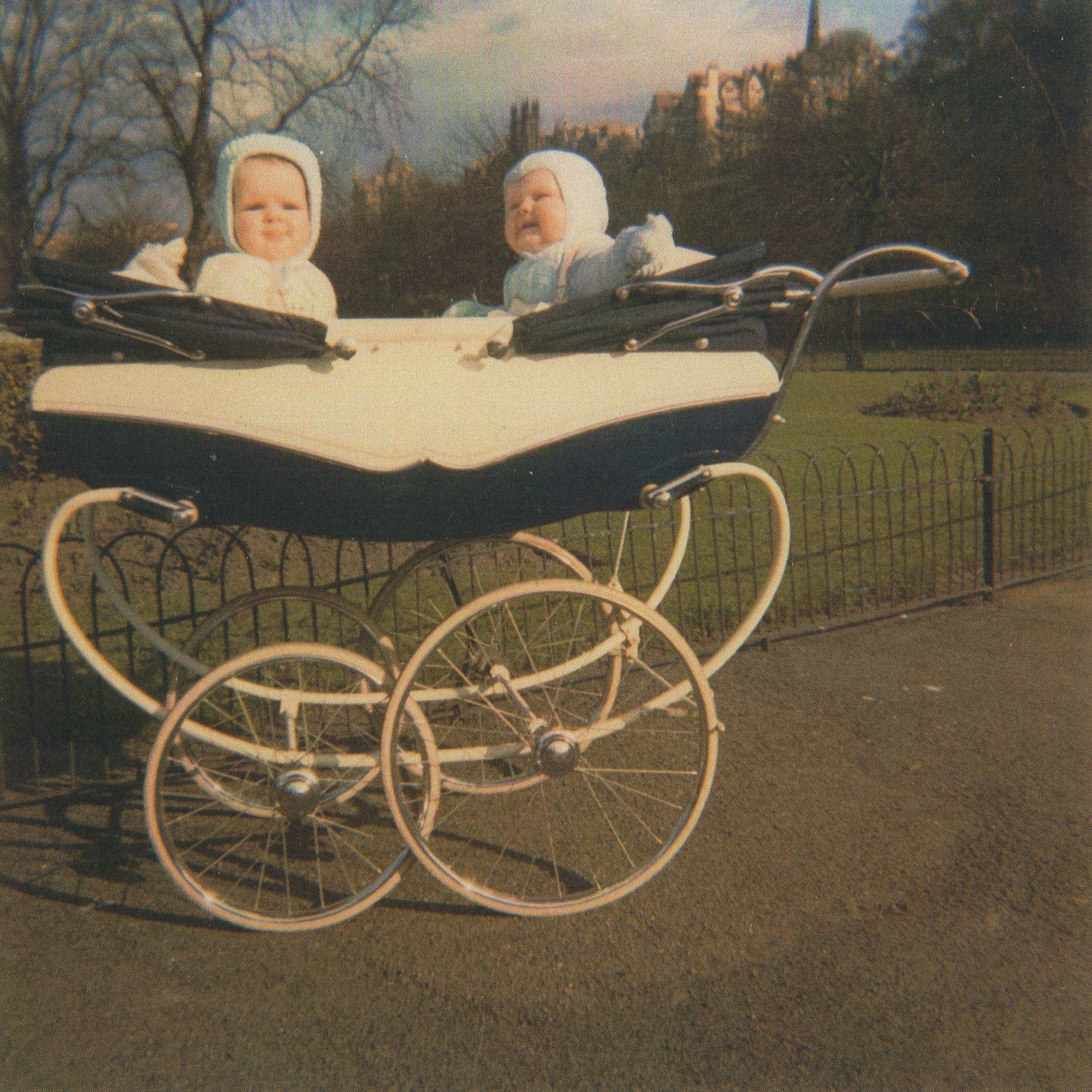 Gillian & Paul aged 8 months in their Twin Pram at Princes Street  Gardens,