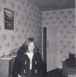 Me visiting June Boswell in her house which was in the Well Court also.