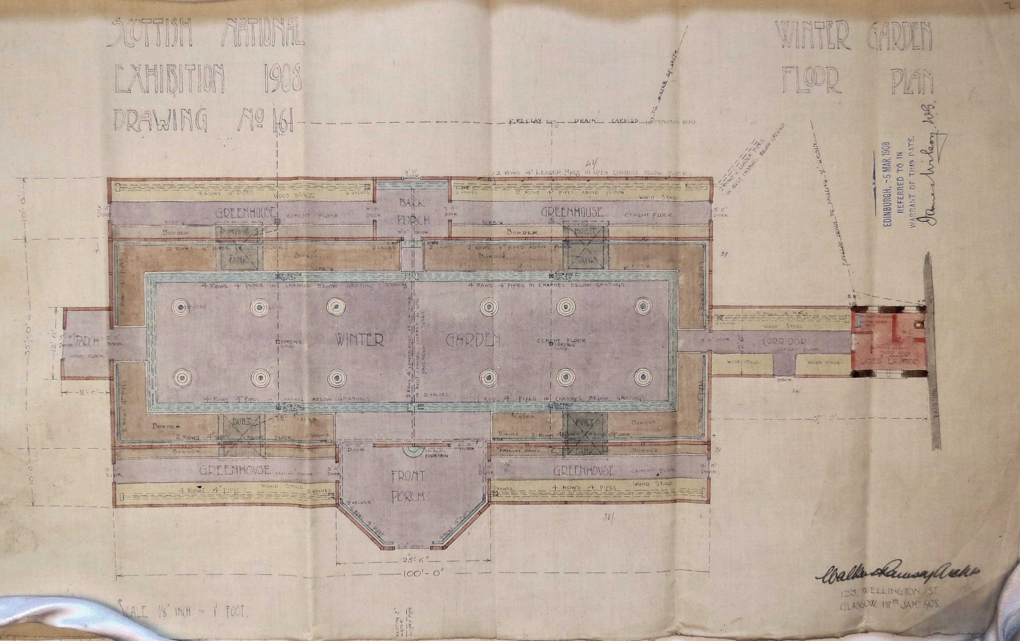 Scottish National Exhibition 1908, Winter Garden Floor Plan