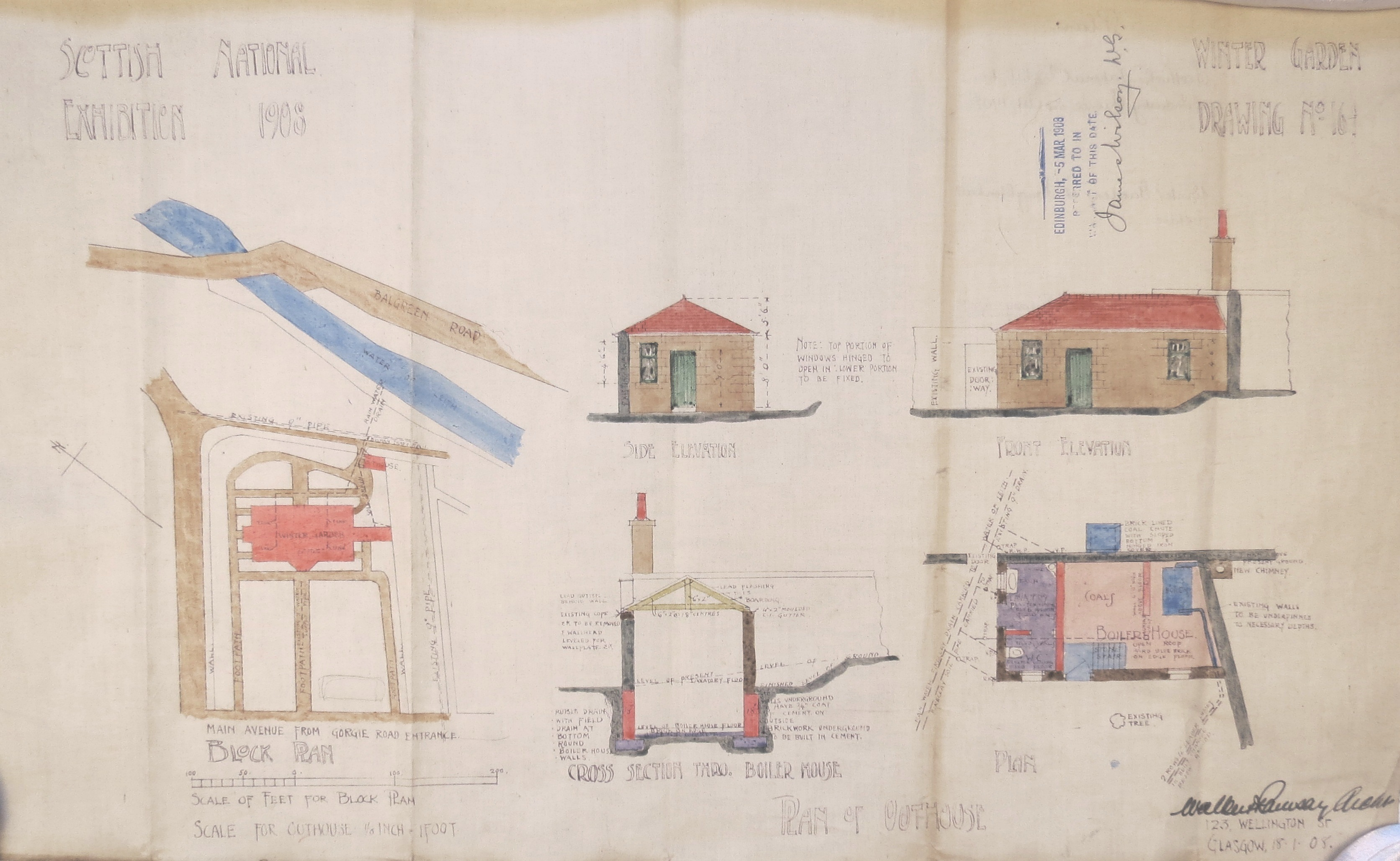 Scottish National Exhibition 1908, Winter Garden outhouse plan