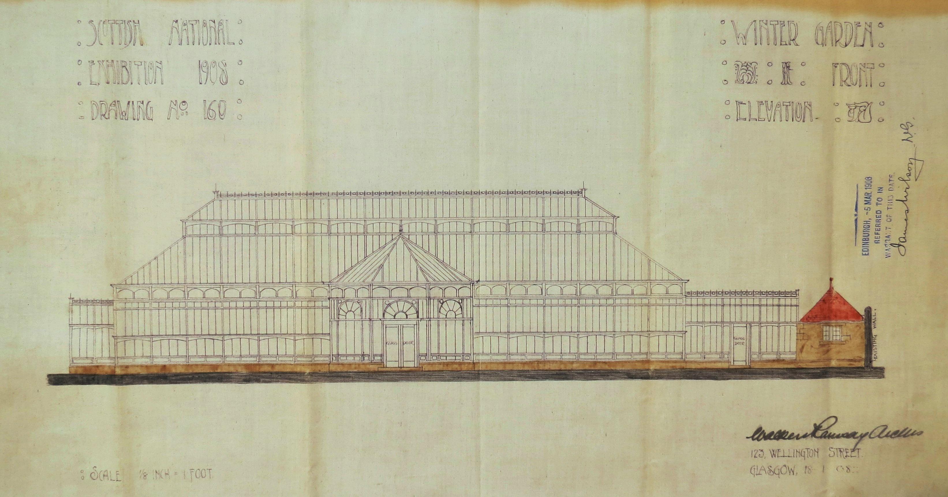 Scottish National Exhibition 1908, Winter Garden front elevation plan