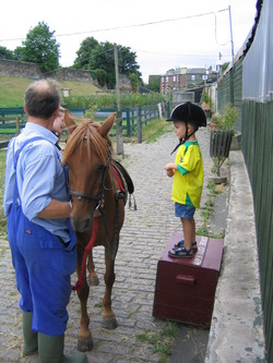 Big box, small boy at Gorgie City Farm!