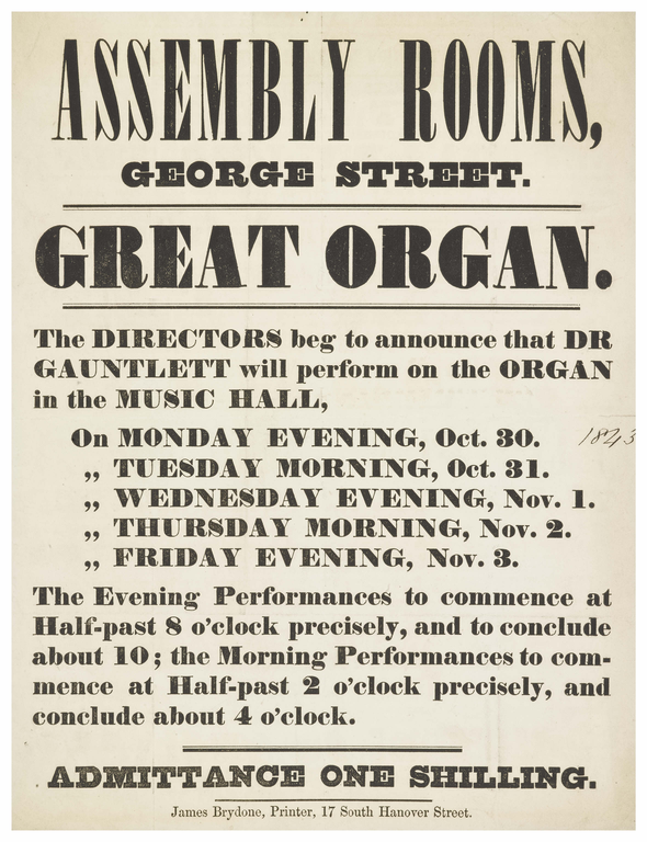 Programme for a 19th century concert at the Assembly Rooms