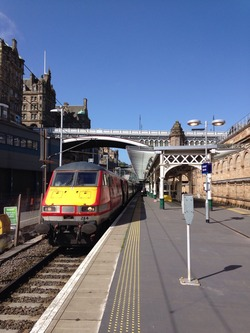 Waiting for a train at Waverley Station